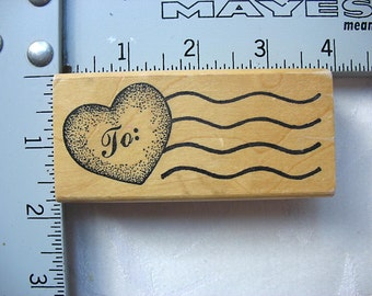 Imagine That Heart Cancellation Post DESTASH Rubber Stamp, Used Rubberstamp