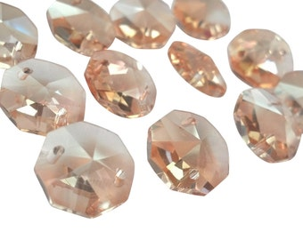 100 Light Champagne 14mm Octagon Chandelier Crystal Beads Prisms