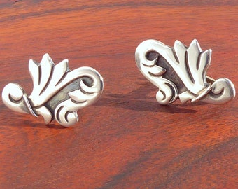 Maricela-Isidro Garcia Pina Sterling Silver Screw Back Earrings from Taxco, Mexico