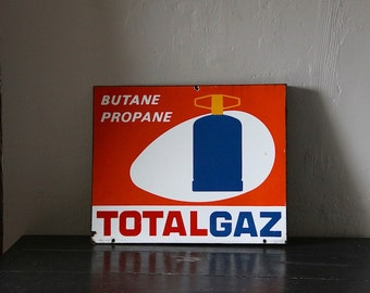 Large Double Sided Enamel French Publicity Sign Gas Sign