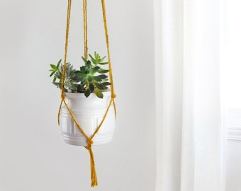 Mustard yellow macrame plant hanger | DIY hanging planters | Modern and minimalist pot holder | Indoor wall planter for herbs, succulent