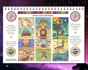 Astrological Zodiac calendar, Perpetual Calendar for every year. Add your own birthdays-never forget anyone's birthday.