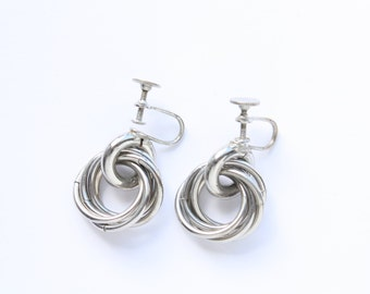 Vintage Silver Tone Ring Screw-on Earrings