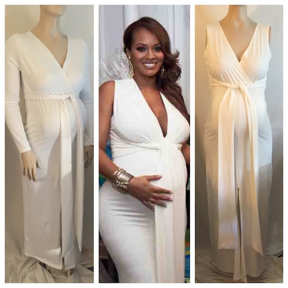 Maternity V Neck Fitted Dress Maternity Gown Baby Shower
