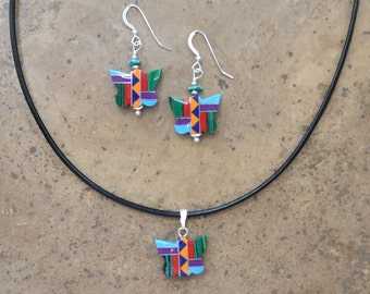 Zuni Fetish style Butterfly Earrings, Necklace, & SET (Multi Inlay)