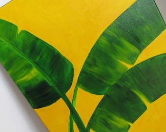 Original Painting 11 x 14 Tropical Banana Leaves Bright Yellow Acrylic Painting Beach Decor Cottage Decor