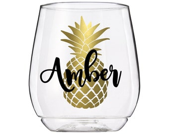 PLASTIC wine glasses, personalized plastic wine glasses, personalized wine glass plastic, palm springs party, pineapple bachelorette party