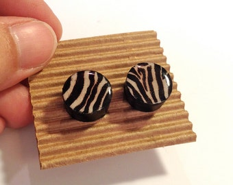 Cute Stud Earrings - Zebra Print - Wooden Earrings - Faux Plugs - Black and White Graphic Prints