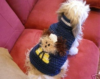 Dog sweater - FUZZY WUZ A SAILOR - 2 to 20 lb dogs - Navy or Pink- Made to order