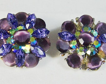 Purple Rhinestone Round Clip Earrings Missing Stones Unsigned