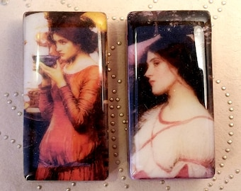 Set of 2 ALTERED ART DOMINOES John William Waterhouse Images Pendants Ready for Crafts Jewelry Creations Resin Coated Side Drilled