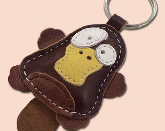 Cute little platypus animal leather keychain - FREE Shipping