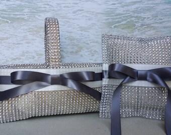 Bling Basket & Pillow- Choice of Ribbon Colors- Wedding Rhinestone - Ringbearer Flowergirl Flower Girl Ring Bearer Diamond Crystal