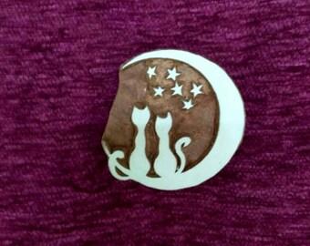 Wood carved Stamp, Textile Stamp, Pottery stamp hand carved fabric stamps, soap stamps, tjaps, batik stamp - kitten on moon l