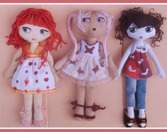 3 outfits for Nosy Dolls-PDF pattern-INSTANT DOWNLOAD