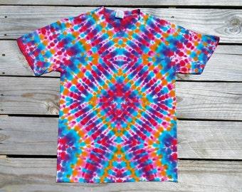 Small Tie Dye Shirt,  Adult Tie Dye Shirt,  Rainbow,  Hippie Top, Deadhead,  Festival,  Ready to Ship,  Tie Dye T-Shirt