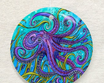 Octopus Glass Ornament and Suncatcher, Christmas ornament