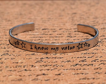 I Know My Value - Agent Carter Inspired Aluminum Bracelet Cuff - Hand Stamped