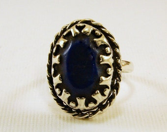 Sterling silver and Lapis Ring - Size 7.5, Lapis Ring, Lapis gemstone set in sterling silver ring