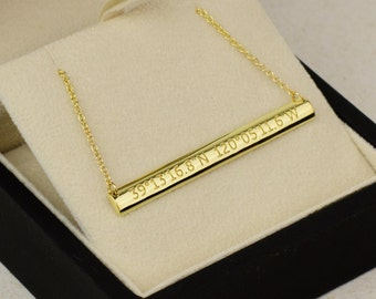 14k Gold Domed Bar Necklace - 14k Yellow, Rose, White Gold. Personalized Jewelry. Roman Numeral, Text, Date, Coordinates. Back Engraving