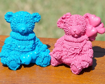 Upcycled Hot Pink & Bright Blue Painted Bears  - Set of Two