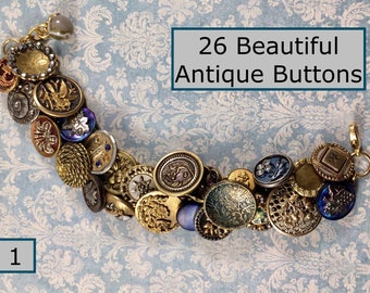 Heavens to Betsy Created Charm Bracelet with 26 Beautiful Antique Buttons Pictorials Pearls Cut Steels Enamel (1)
