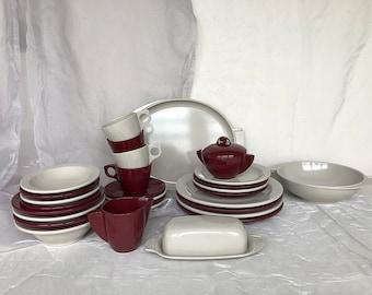 Vintage Boontonware Dinnerware - Melmac Melamine Boonton Ware Dishes - Melmac Dinnerware Set - Boontonware Plastic Tableware Gray Maroon