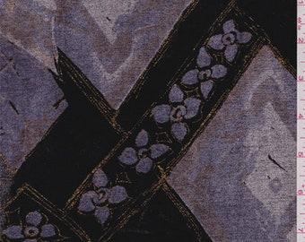 Black/Lavender Diamond Chenille Jacquard, Fabric By The Yard