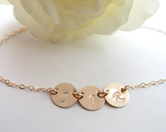 Personalized Initial Disk Bracelet All Gold Filled or Sterling Silver - Customized Initials , family jewelry, birthday, Christmas gifts