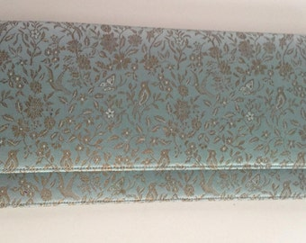 Light Blue Brocade Clutch