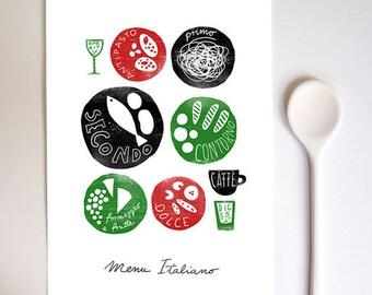"""MENU ITALIANO 11""""x15"""" Italian food, Kitchen Art Print - archival fine art giclée print"""