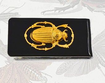Scarab Money Clip Inlaid in Hand Painted Black Enamel Egyptian Beetle Gothic Inspired Personalized and Color Options