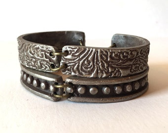 Silver layered Bracelets, Textured Ethnic inspired Cuff Bracelet Duo, Artisanal handmade clay Bracelet, Leather Inspired