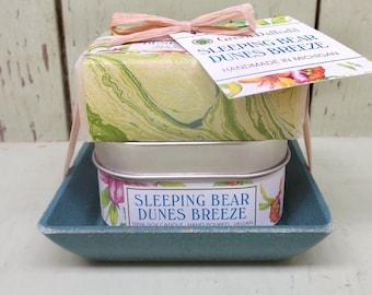Sleeping Bear Dunes  Breeze Candle & Soap Dish Kit-  Green Daffodil