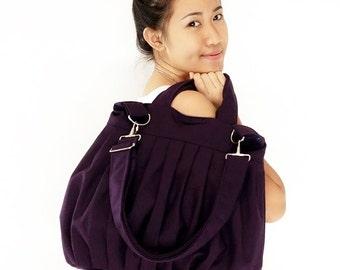 Canvas Bag Cotton bag Handbags Diaper bag Shoulder bag Hobo bag Tote bag Messenger Purse Everyday bag  Dark Purple  Martha