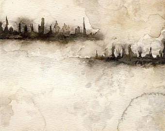 Watercolor Cityscape Dystopia smokey, foggy, stormy, square fine art print, abstract, skyline, silhouette
