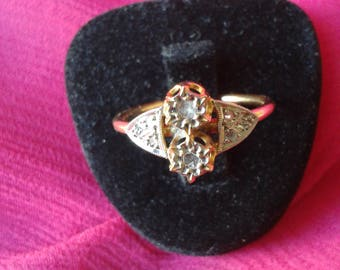 """Ring """"Art Déco"""" gold and diamonds"""