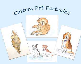 Personalised Pet Portrait Commission Of Any Pet, Custom to your preference, Watercolour And Pencil Original work, A5 A4 sizes