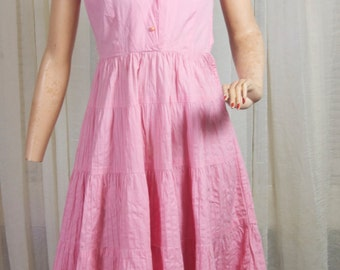 Jonathan Logan 1950's pink cotton 4 tiered dress with faux pleats, and lots of play!