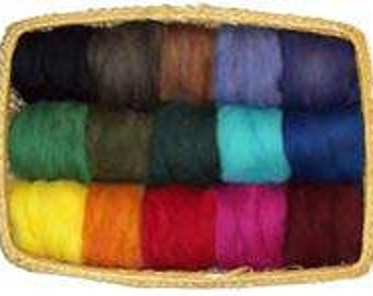 USA Made EcoSoft Wool Roving - 15 VIbrant Color Assortment