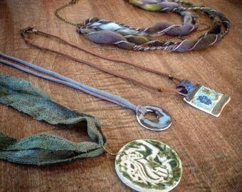 Fiber necklaces with Raku Stonewear Art Pendants - silk hemp handspun art yarn - handmade