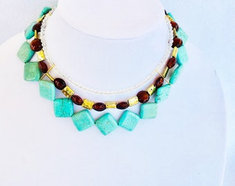 Unique Handmade Three Strand Turquoise Brown Gold and Clear Bead Statement Necklace