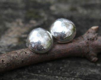 Sterling silver stud earrings / MEDIUM stud earrings / gift for her / silver earrings / boho jewelry / rustic earrings / jewelry sale