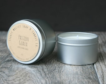 4 oz. Passion Guava - Soy Wax Candle - Travel Tin with Cotton Wick - Phthalate Free