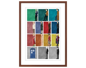 24x36 Doctor Who poster: All 12 Doctors + the War Doctor + the TARDIS