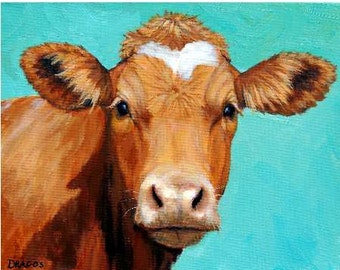 Guernsey Cow Art, Farm Animal Print, Face on Light Teal, Painting by Dottie Dracos