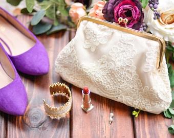 Lace Bridal Clutch - Bride Gift - Personalized Bridal Purse - Wedding Day Clutch - Ivory Clutch - Clutch for Bride - Ivory Bridesmaid Clutch
