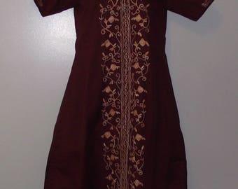 Vintage deux pièces Inde ethnique tunique Jasmin w/tirage String pantalon Auburn lourd broderie manches courtes mariage Costume Hippie Boho taille petit