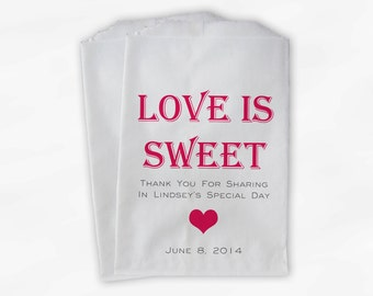 Love Is Sweet Candy Buffet Treat Bags - Personalized Bridal Shower Favor Bags in Fuchsia and Gray - Set of 25 Custom Paper Bags (0167)