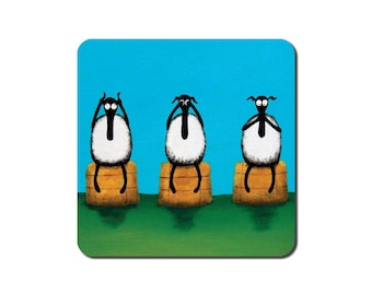 Ewe Hear, See, Speak No Evil Coaster - quirky sheep art painting gift